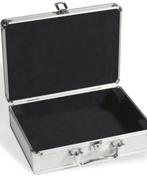KOS LEER – Alumínium érmetartó bőrönd 6 db érme táblához – üres