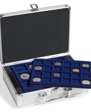 KOS 10 EU – Alumínium érmetartó bőrönd (120 érme számára)