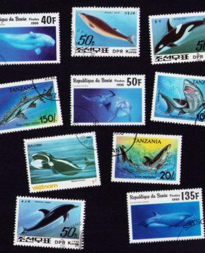 Delfin, cápa, bálna – 10 klf. bélyeg