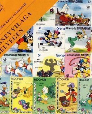 Walt Disney világa bélyegeken (18 klf. postatiszta külföldi bélyeget tartalmaz)